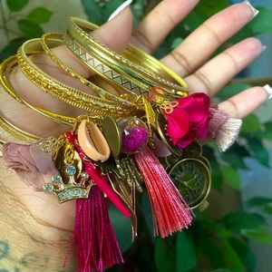Custom Gold and Pink Bangle Set